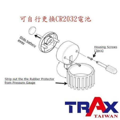 ARX-75CC [三用型夾頭電子式輪胎打氣胎壓計(160psi)] 5 - *電子顯示,打氣更精確! *錶頭可360度旋轉,方便各角度檢視胎壓。 *三用型,打氣、測壓、洩氣一次完成。 *夾式進氣頭設計適合機車及腳踏車使用。 *90秒自動斷電 *可自行更換CR2032電池