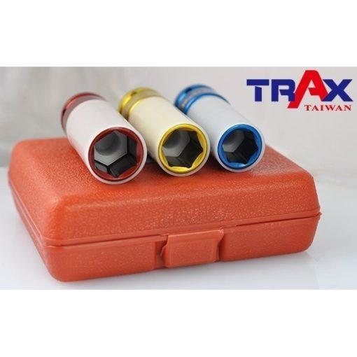 """ARX-403D5M [4分(12"""")3件式高強度鉻鉬鋼材防傷氣動套筒組] 3 - *防傷外套及內墊,保護輪框及螺栓,避免摩擦損傷! *整組高強度鉻鉬鋼材(Cr-Mo)打造,除了好用更耐用! *特殊熱處理,強化硬度、提高韌性 *藍色,金色,紅色分別代表17,19,21mm 避免使用錯誤! *汽機車修護必備套筒組"""