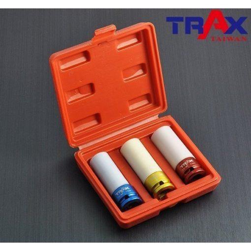 """ARX-403D5M [4分(12"""")3件式高強度鉻鉬鋼材防傷氣動套筒組] 2 - *防傷外套及內墊,保護輪框及螺栓,避免摩擦損傷! *整組高強度鉻鉬鋼材(Cr-Mo)打造,除了好用更耐用! *特殊熱處理,強化硬度、提高韌性 *藍色,金色,紅色分別代表17,19,21mm 避免使用錯誤! *汽機車修護必備套筒組"""