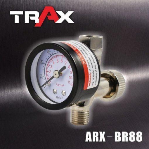 ARX-BR88 噴漆槍專用調壓閥附壓力表 4 - <div>149g調壓錶,結構耐用。</div> <div>雙刻度調壓閥,適用壓力區間值為: 0~160PSI、0~11kg/cm2</div> <div>錶面直徑42mm,輕鬆讀取氣壓值。</div> <div>高CP值調壓閥。</div> <div>360度轉向接頭,可將壓力錶調整至適合角度。</div> <div>精密針閥壓力閥,可快速及微調整壓力。</div> <div>玻璃錶面,可用溶劑擦拭,不霧化!</div> <div>氣動噴漆槍必備調壓閥,調壓時請按下板機後調整,以確認目前操作壓力。</div>