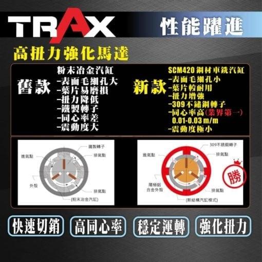 "TRAX ARX-670 高扭力日本軸承筆型氣動刻磨機 4 - 最大轉數:70,000 rpm 使用壓力:90 psi 機身長度:140 mm 機身外徑:15.8 mm 排氣方式:後排式 (Rear) 排氣管長:135 cm 重量:73 g 夾頭尺寸:3mm & 1/8"""