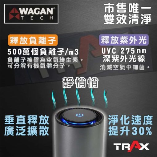 WAGAN TECH 2871 HEPA H13標準版空氣濾清機/空氣清淨機 3 - 專用濾網:HEPA H13等級+初效濾網 負離子:500萬個/平方公尺 紫外光:UVC 275nm 重量:280g 潔淨空氣輸出比率(CADR值):10 立方公尺/小時 功率:5W 噪音值:<38 dBA 外殼材質:鋁合金